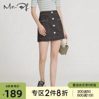 skirt Autumn 2020 S M L XL black Short skirt commute High waist A-line skirt Solid color Type A 25-29 years old DM203B2084 More than 95% Denim Manor bieffe cotton Button Cotton 100%