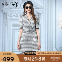 Dress Autumn 2020 Black and white check green check Glass Purple S M L XS XL XXL Short skirt singleton  Short sleeve commute tailored collar High waist lattice double-breasted A-line skirt routine 18-24 years old Type A Manor bieffe Button M2031C4004 More than 95% polyester fiber Polyester 100%