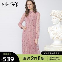 Dress Winter 2020 pink XS S M L XL longuette singleton  Long sleeves commute Crew neck High waist Broken flowers Socket A-line skirt routine 25-29 years old Type A Manor bieffe printing DM204E4127 81% (inclusive) - 90% (inclusive) Chiffon polyester fiber Pure e-commerce (online only)