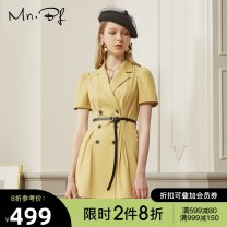 Dress Summer 2020 High grade grey banana yellow XS S M L XL Short skirt singleton  Short sleeve commute tailored collar High waist Solid color double-breasted A-line skirt routine 25-29 years old Type A Manor bieffe Button M2024I1132 81% (inclusive) - 90% (inclusive) polyester fiber
