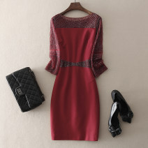 Dress Spring 2021 Red, black, purple M,L,XL,2XL,3XL,4XL Mid length dress singleton  three quarter sleeve street Crew neck middle-waisted Solid color zipper One pace skirt routine Others 30-34 years old Type H left lady Nail bead, zipper L1804030 More than 95% other other Europe and America
