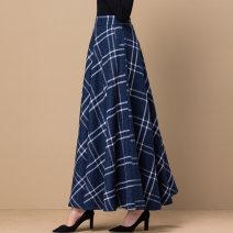 skirt Winter of 2019 S. M, l, XL, 2XL, custom size longuette Versatile High waist A-line skirt lattice Type A 40-49 years old 31% (inclusive) - 50% (inclusive) Wool wool Zipper, pocket 81g / m ^ 2 (including) - 100g / m ^ 2 (including)