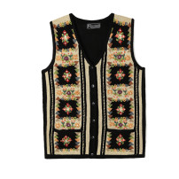 Wool knitwear Autumn of 2018 Average size Black 02, white 0203760828016036954935 Sleeveless Cardigan wool 30% and below Regular routine Sweet easy V-neck Plants and flowers Single breasted Pockets, embroidery, buttons Countryside