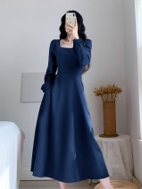 Dress Autumn 2020 Blue, red, black, blue plush, red plush, black plush S,M,L,XL,2XL longuette singleton  Long sleeves commute square neck High waist Solid color Socket Big swing routine 25-29 years old Type A other Retro zipper 9136# 51% (inclusive) - 70% (inclusive) brocade polyester fiber