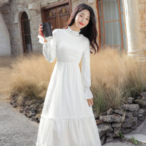 Dress Winter 2020 White, black, white plush, black plush S,M,L,XL,2XL,3XL,4XL longuette singleton  Long sleeves commute Half high collar High waist Solid color Socket A-line skirt routine Others 18-24 years old Type A other Retro Splicing 8505# 51% (inclusive) - 70% (inclusive) other polyester fiber