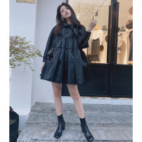 Dress Autumn 2020 Black spot, white spot Short skirt singleton  Nine point sleeve commute Crew neck Loose waist Solid color Socket Ruffle Skirt puff sleeve Others 25-29 years old Type A lady bow 91% (inclusive) - 95% (inclusive) other cotton