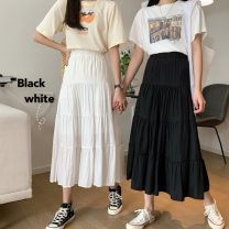 skirt Spring 2021 Average size White, black Mid length dress commute High waist Cake skirt Solid color Type A 18-24 years old Korean version