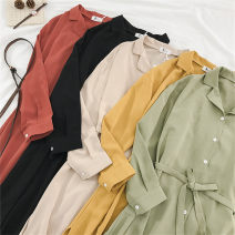 Dress Spring 2021 One size fits all, s, m, l, XL Mid length dress singleton  Long sleeves commute Polo collar High waist Solid color Single breasted A-line skirt routine 18-24 years old Type A Korean version Button four point two zero