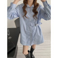 shirt White, blue, black Average size Spring 2021 cotton 96% and above Long sleeves commute Medium length Polo collar Single row multi button shirt sleeve Solid color 18-24 years old Straight cylinder Korean version