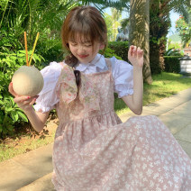 Dress Summer 2021 Black skirt piece, white shirt piece, pink skirt piece Average size Mid length dress singleton  Sleeveless commute square neck Loose waist Broken flowers Socket A-line skirt camisole 18-24 years old Type A Korean version