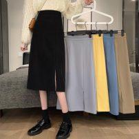 skirt Spring 2021 S,M,L Khaki, light grey, blue, yellow, black Mid length dress commute High waist A-line skirt Solid color Type A 18-24 years old zipper Korean version