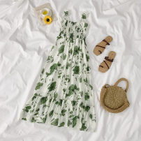 Dress Spring 2021 One piece of white sunscreen and one piece of green suspender skirt Average size Mid length dress singleton  Sleeveless commute One word collar High waist Socket A-line skirt straps 18-24 years old Type A Korean version printing More than 95% polyester fiber