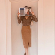 skirt Winter 2020 XS,S,M,L Camel Mid length dress Retro High waist skirt Solid color Type X 25-29 years old bq017 51% (inclusive) - 70% (inclusive) Other / other polyester fiber Button