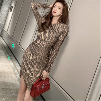 Dress Spring 2021 Leopard Print S,M,L Short skirt singleton  Long sleeves commute Crew neck middle-waisted Broken flowers zipper Irregular skirt routine Others 25-29 years old Type H Korean version Asymmetry, printing More than 95% other other