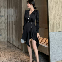 Dress Spring 2021 black S,M,L Short skirt singleton  Long sleeves commute V-neck High waist Solid color zipper Irregular skirt routine Others 25-29 years old Type X Korean version Ruffles and diamonds More than 95% other other