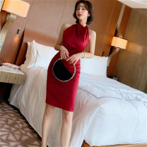 Dress Spring 2021 claret S,M,L Short skirt singleton  Sleeveless commute Pile collar High waist Solid color zipper One pace skirt routine Hanging neck style 25-29 years old Type H Korean version Open back, fold More than 95% other other