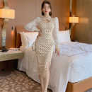 Dress Spring 2021 Apricot S,M,L Middle-skirt singleton  Long sleeves commute stand collar middle-waisted Dot zipper One pace skirt puff sleeve Others 25-29 years old Type H Korean version Hollowed out, stitched, button 81% (inclusive) - 90% (inclusive) other other