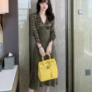 Dress Spring 2021 yellow S,M,L Mid length dress singleton  Long sleeves commute V-neck High waist lattice zipper A-line skirt routine Others 25-29 years old Type A Korean version fold More than 95% other other