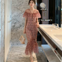 Dress Summer 2021 Decor S,M,L Mid length dress singleton  Short sleeve commute V-neck High waist Decor zipper Ruffle Skirt Bat sleeve Others 25-29 years old Type X Korean version Ruffles, stitching, printing More than 95% other other