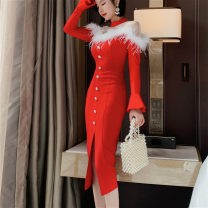 Dress Spring 2021 Black, red S,M,L Mid length dress singleton  Long sleeves commute Half high collar High waist Solid color zipper One pace skirt pagoda sleeve Others 25-29 years old Type H Korean version Panel, button, mesh 81% (inclusive) - 90% (inclusive) other other