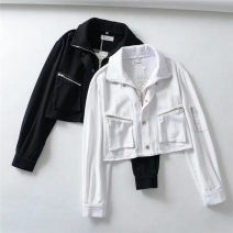 short coat Spring 2021 S,M,L Black, white Long sleeves have cash less than that is registered in the accounts routine singleton  easy street routine zipper Solid color 71% (inclusive) - 80% (inclusive) other