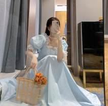 Dress Spring 2021 blue S,M,L,XL Mid length dress singleton  Short sleeve Sweet puff sleeve Gauze princess