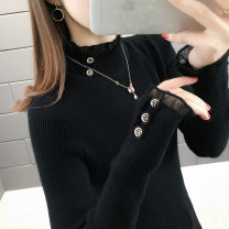 sweater Winter of 2019 S,M,L,XL Black, blue, green, yellow, coffee, beige, khaki Long sleeves Socket singleton  other 95% and above Half high collar thickening commute routine Solid color Straight cylinder Keep warm and warm 25-29 years old Imanshan YMS-M845