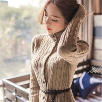 Wool knitwear Winter 2020 S,M,L,XL Black, apricot Long sleeves singleton  Cardigan other 71% (inclusive) - 80% (inclusive) Medium length thick commute easy High collar routine Solid color Single breasted Korean version dfe2 GLUO Belt, button