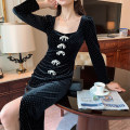 Dress Autumn 2020 Retro Black S,M,L,XL