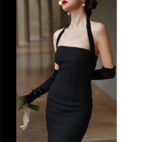 Dress Spring 2021 black S,M,L,XL Mid length dress commute Solid color Hanging neck style 18-24 years old Retro