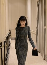 Dress Winter 2020 Twinkle black, twinkle apricot S,M,L Mid length dress singleton  Long sleeves commute Crew neck routine 18-24 years old Retro Bows, backless, sequins