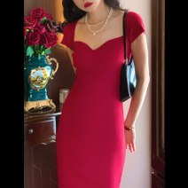 Dress Spring 2021 Atmospheric black, Retro Red Average size longuette Short sleeve commute High waist 18-24 years old Other / other Retro