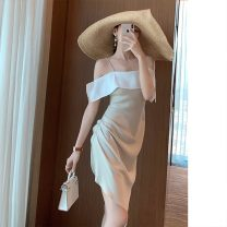 Dress Summer 2020 Apricot, black S,M,L Mid length dress singleton  Short sleeve commute square neck High waist Solid color Socket A-line skirt puff sleeve Others Type A 81% (inclusive) - 90% (inclusive) other