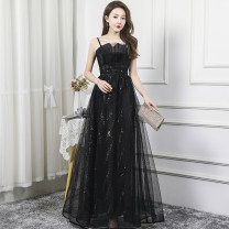 Dress / evening wear Wedding, adulthood, party, company annual meeting, show, date XS,S,M,L,XL,XXL,XXXL Black long with Cape_ Rental, black long_ Rent, deposit grace longuette middle-waisted Spring 2021 Sling type Netting 18-25 years old Nail bead