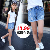 trousers female 100cm,110cm,120cm,130cm,140cm,150cm,160cm summer shorts leisure time There are models in the real shooting Jeans Leather belt middle-waisted Denim Don't open the crotch Class B Chinese Mainland Jiangsu Province Suzhou