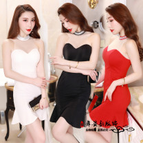Dress Summer of 2019 White, black, red S,M,L,XL,2XL Short skirt singleton  Sleeveless One word collar Solid color Ruffle Skirt routine Breast wrapping Type A