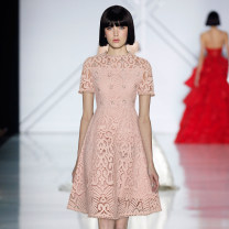 Dress Spring 2021 Lotus root Pink S,M,L,XL Middle-skirt singleton  Short sleeve Sweet Crew neck High waist Solid color zipper Princess Dress routine Others Type X Hollowed out, inlaid with diamond and nailed beads tkjhihujkuhk712 More than 95% brocade polyester fiber princess