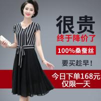 Dress Summer of 2019 Black, blue L,XL,2XL,3XL,4XL,5XL Mid length dress singleton  Short sleeve commute V-neck middle-waisted stripe Socket A-line skirt routine Others 40-49 years old Type A Korean version Frenulum More than 95% silk