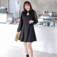 Women's large Spring 2021 black L [suggested 110-130 kg], XL [suggested 130-145 kg], XXL [suggested 145-155 kg], 3XL [suggested 155-170 kg], 4XL [suggested 170-190 kg], 5XL [suggested 190-210 kg] Dress singleton  commute Self cultivation moderate Socket Long sleeves Solid color Korean version routine