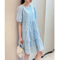 Dress Summer 2021 White blue Average size Mid length dress singleton  Short sleeve commute Crew neck Loose waist Decor Socket A-line skirt puff sleeve Others 30-34 years old Type A Matcha life MCZM2371B More than 95% other Other 100% Pure e-commerce (online only)