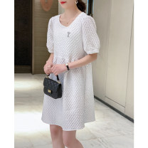 Dress Summer 2021 Black and white S M L Mid length dress singleton  Short sleeve commute Crew neck Loose waist Solid color Socket A-line skirt puff sleeve Others 30-34 years old Type A Matcha life printing More than 95% other Other 100% Pure e-commerce (online only)