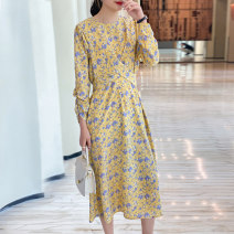 Dress Summer 2021 yellow S M L longuette singleton  Nine point sleeve commute Crew neck High waist Broken flowers Socket A-line skirt routine Others 30-34 years old Type A Matcha life Splicing bandage 81% (inclusive) - 90% (inclusive) Chiffon polyester fiber Pure e-commerce (online only)