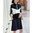Dress Summer 2021 black Average size Mid length dress singleton  Short sleeve commute stand collar Elastic waist Solid color Socket A-line skirt routine Others 30-34 years old Type A Matcha life Splicing MC8826B More than 95% other Other 100% Pure e-commerce (online only)