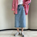 skirt Spring 2021 S M L Denim blue Mid length dress commute High waist Denim skirt Solid color Type A 30-34 years old MC1037A More than 95% Matcha life other Button Other 100% Pure e-commerce (online only)