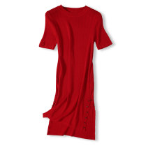 Dress Autumn 2020 Papaverine S,M,L,XL Mid length dress singleton  Short sleeve Crew neck middle-waisted Solid color Socket A-line skirt routine Others Type A rivet 73M009415 81% (inclusive) - 90% (inclusive) knitting other