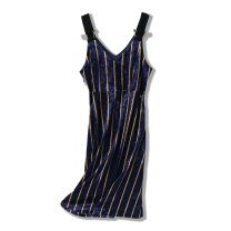 Dress Autumn 2020 Striped purple XS,S,M,L Mid length dress singleton  High waist stripe Socket A-line skirt straps Type A Splicing T8212013300 X 91% (inclusive) - 95% (inclusive) other other
