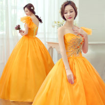 Dress / evening wear Wedding party company annual meeting performance Orange Sweet longuette middle-waisted Summer 2016 Fluffy skirt Single shoulder type Bandage Organza silk satin 18-25 years old Short sleeve Diamond ornament Princess sleeve Glass drill