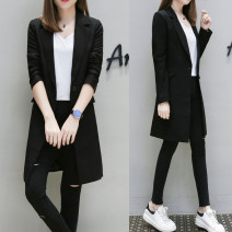 suit Spring 2020 black S,M,L,XL,2XL,3XL Long sleeves Medium length Self cultivation tailored collar A button commute routine Solid color 25-29 years old 51% (inclusive) - 70% (inclusive) polyester fiber Mengxiu Yizi Pocket, button