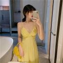 Dress Summer 2021 yellow S,M,L longuette singleton  Sleeveless Sweet V-neck High waist Solid color zipper Big swing other camisole Type A Bohemia