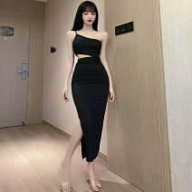 Dress Winter 2020 black S,M,L longuette singleton  Sleeveless commute Slant collar High waist Solid color Socket Pencil skirt Oblique shoulder 18-24 years old Type X Other / other Korean version Hollowed out, bare back 3129# 51% (inclusive) - 70% (inclusive) brocade polyester fiber
